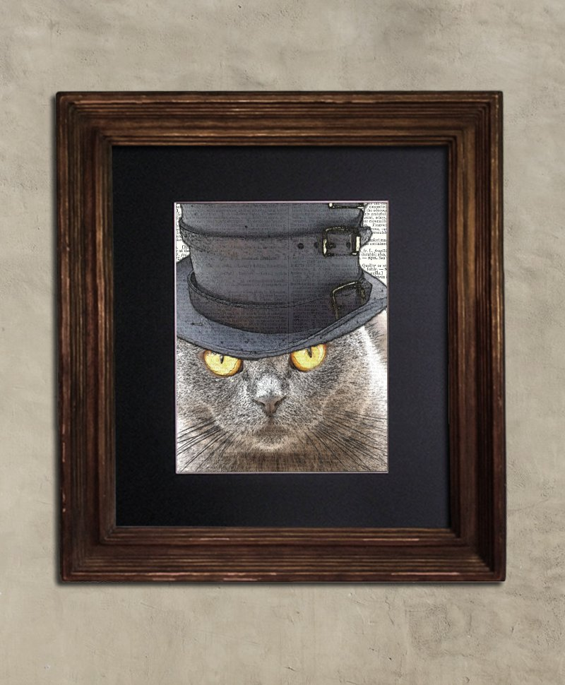 Dictionary Print: Reticent Steampunk Scottish Fold Cat in Top Hat, Steampunk Cat