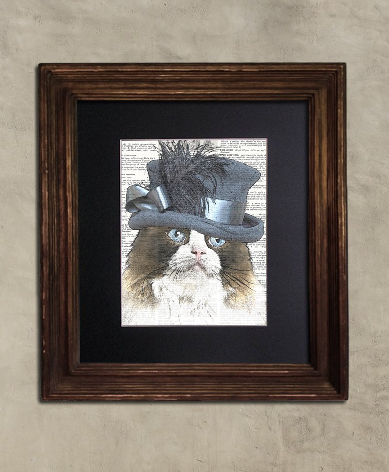 Dictionary Print, Steampunk Cat Print: Fanciful Ragdoll Cat in Frilly Top Hat, Steampunk Cat Artwork