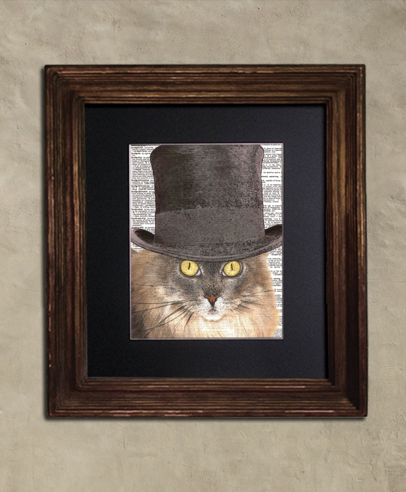 Dictionary Print, Cat Art: Attentive Siberian Cat, Steampunk Cat Art Print