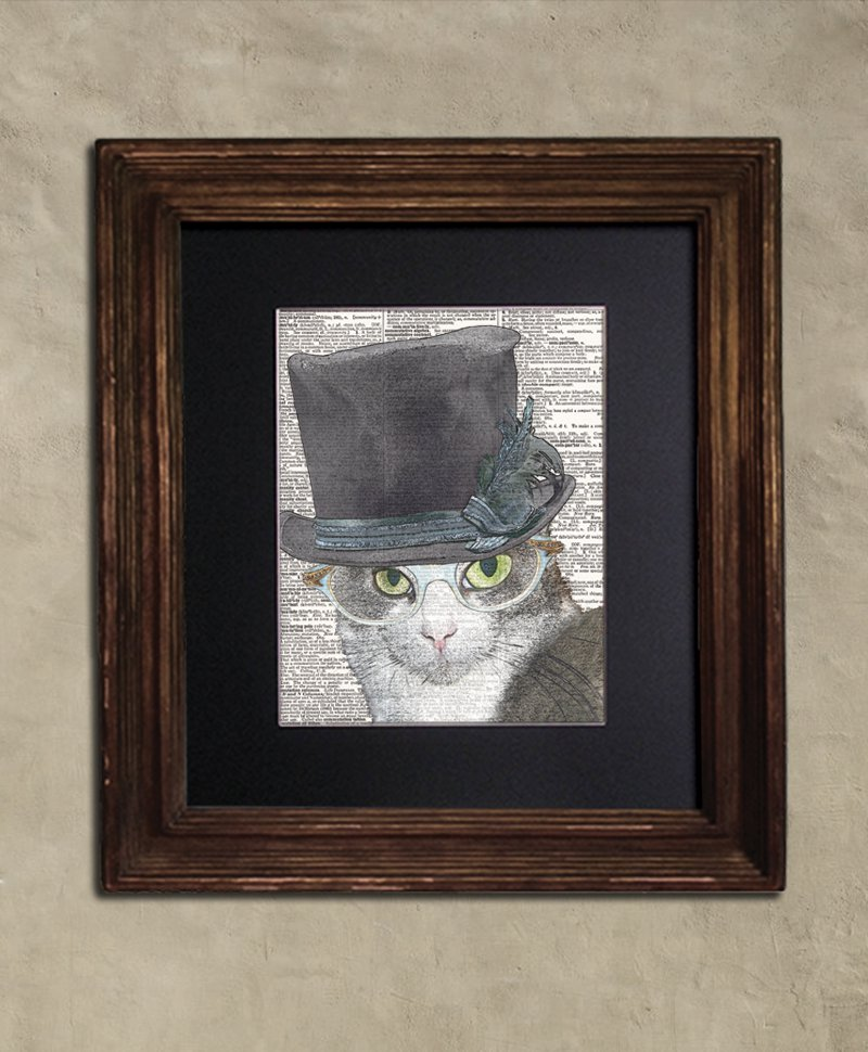 Dictionary Print: Perspicacious Grey Tabby Cat in Top Hat & Vintage Glasses, Steampunk Cat Art Print
