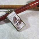 Steampunk Necklace: Brass Rectangle, Steampunk Dog Pendant - Courteous Chihuahua