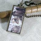 Steampunk Necklace: Brass Rectangle, Steampunk Dog Pendant - Gracious Schnauzer