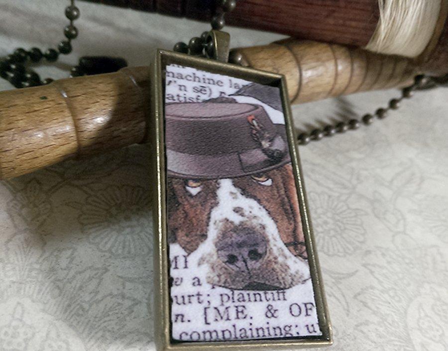 Steampunk Necklace: Brass Rectangle, Steampunk Dog Pendant - Temperate Bassett Hound