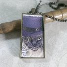 Steampunk Necklace: Brass Rectangle, Steampunk Cat Pendant - Irascible Russian Blue Cat
