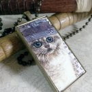 Steampunk Necklace: Brass Rectangle, Steampunk Cat Pendant - Enchanting Persian Cat