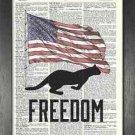 Dictionary Art, Word Art - Cat Design - Freedom