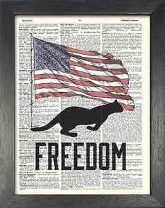 Dictionary Art, Word Art - Cat Design - Freedom