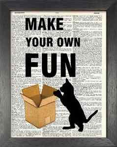 Dictionary Art, Word Art - Cat Design - Make your Own Fun