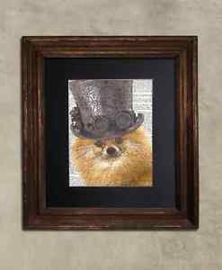 Steampunk Dog - Dictionary Art: Illustrious Pomeranian in Top Hat