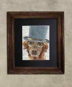 Steampunk Dog - Dictionary Art: Delirious Golden Retriever in Top Hat