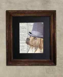 Steampunk Dog - Dictionary Art: Precellent Yellow Lab in Top Hat