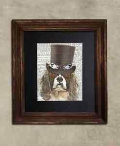 Steampunk Dog - Dictionary Art: Dandy King Charles Spaniel in Top Hat