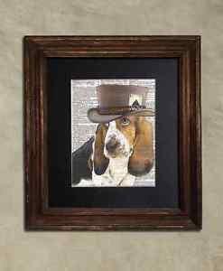 Steampunk Dog - Dictionary Art: Irresistible Bassett Hound in Top Hat