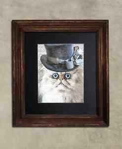 Steampunk Cat - Dictionary Art: Bewildered Persian Cat in Frilly Hat