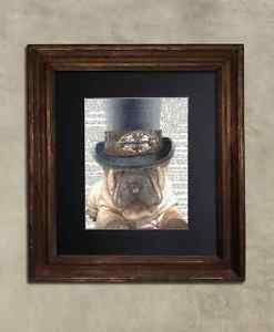 Steampunk Dog - Dictionary Art: Frenzied Sharpei Dog in Top Hat