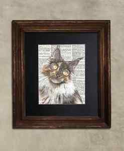 Steampunk Cat - Dictionary Art: Circumspect Maine Coon Cat in Glasses