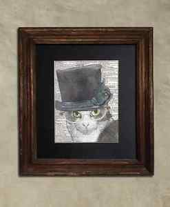 Steampunk Cat - Dictionary Art: Perspicacious Grey & White Cat in Top Hat