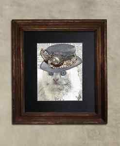 Steampunk Cat - Dictionary Art: Cogent Angora Cat in Steampunk Hat