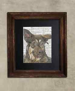 Steampunk Dog - Dictionary Art: Ineffable Alsation Dog in Steampunk Goggles
