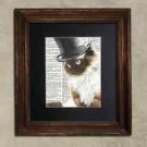 Steampunk Cat - Dictionary Art: Quizzical Ragdoll Cat in Top Hat