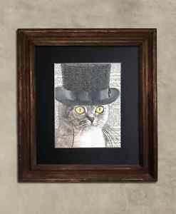 Steampunk Cat - Dictionary Art: Au Courant Steampunk Tabby Cat in Top Hat