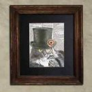 Steampunk Cat - Dictionary Art: Cordial Steampunk Maine Coon Cat in Top Hat