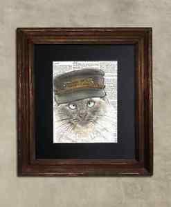Steampunk Cat - Dictionary Art: Empirical Birman Cat in Vintage Conductor Cap