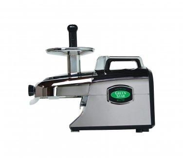 New Tribest Greenstar Elite Cold Press Juice Extractor GSE-5050-B Jumbo Twin Gear, (Chrome)