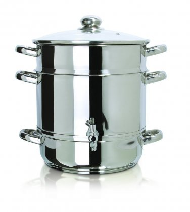 New Euro Cuisine Stove Top Steam Juicer,8 Quarts Juice Container, Stainless Steel,Model EC9500