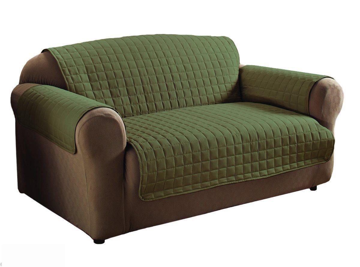 Innovative Textile Microfiber Sage Colour Loveseat Furniture Protector