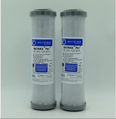 "KX MATRIKX Pb1 10"" Length Extruded Carbon Block Filter Cartridge 2 PK 06-250-125"