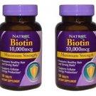 (2 Pack) Natrol Biotin 10,000 mcg Maximum Strength 100 Tablets