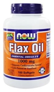 FLAX OIL ORGANIC 1000mg  100 SGELS By Now Foods