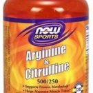Arginine 500mg & Citrulline 250mg Now Foods 120 Caps
