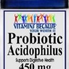 Vitamins Because Your Worth It Probiotic Acidophilus 450mg - 200 Caps