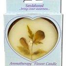 Auroshikha - Large Round Sandalwood Aromatherapy Flower Candle