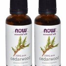 2 Bottles Now Foods Essential Oils 100% Pure Cedarwood - 1 fl oz (30 ml)