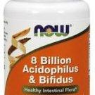 Now Foods Acidophilus, 60 Caps w/BIFIDUS 8 BILLION (Pack of 3)