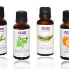 4 Pack Now Foods Christmas Scent: Peppermint, Cedarwood, Pine Needle, Orange Oil