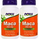 2 Pack Now Foods Maca 500 mg, 100 Veggie Capsules
