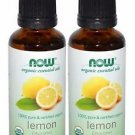 2 Bottles Now Foods Essentials 100% Pure & Organic Lemon Oil - 1 fl oz (30 ml)