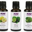 3 Bottles Now Foods Variety Essential Oils: Lemon, Lime, & Bergamot