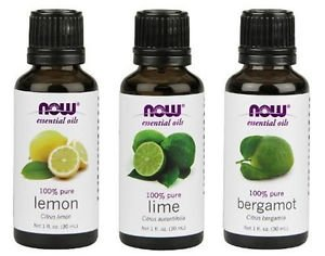 3 Bottles Now Foods Variety Essential Oils: Lemon, Lime, & Bergamot