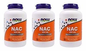 3 Pack Pack Now Foods NAC (N-Acetyl Cysteine) 600 mg - 250 Vegetarian Capsules