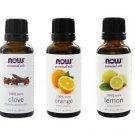 Now Foods Essential Oils Blues Relief Set, Clove, Lemon, Orange Oils, 3 Pack