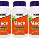 3 Pack Now Foods Maca 500 mg, 100 Veggie Capsules