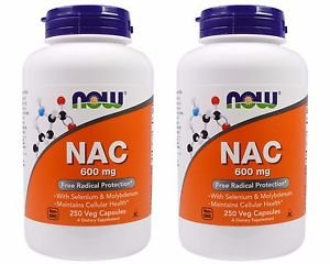 2 Pack Now Foods NAC (N-Acetyl Cysteine) 600 mg - 250 Vegetarian Capsules