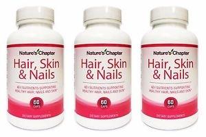 3 Pack Nature's Chapter Hair, Skin & Nails Vitamins Biotin 5000mcg - 60 Capsules