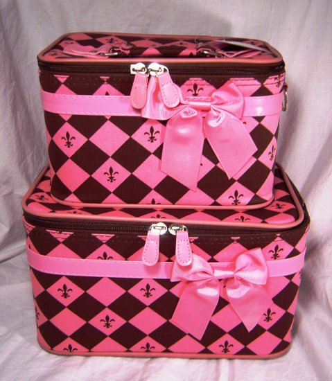 Pink and Brown Cosmetic Train Case Set