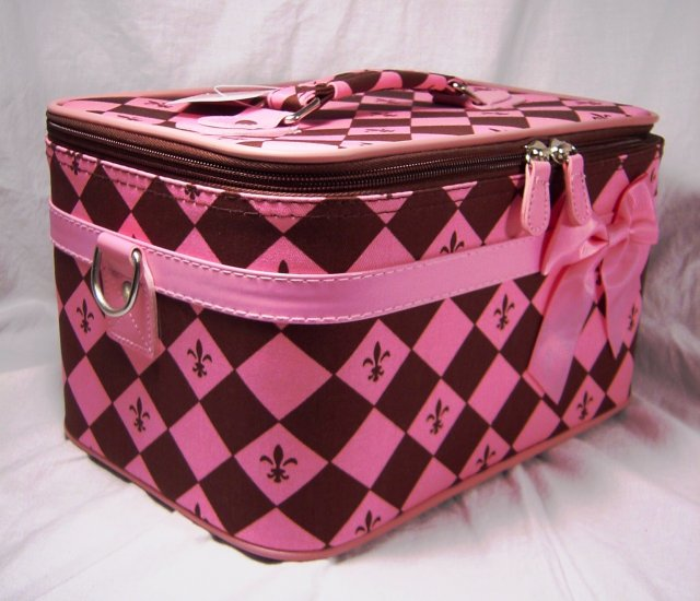 Large Pink and Brown Cosmetic Train Case